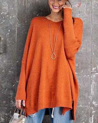 Soft Tunic Sweater (Pumpkin)