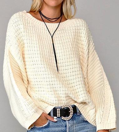 Cream Waffle Flare Sleeve Sweater