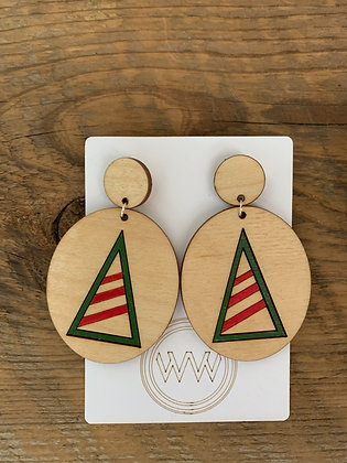 Christmas Tree Earrings (Light Wood)
