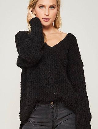 Ribbed Fuzzy Round V Neck Sweater (Black)