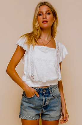 Lace Knit Smock Waist Top
