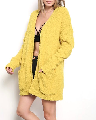 Chartreuse Cardigan with Pockets