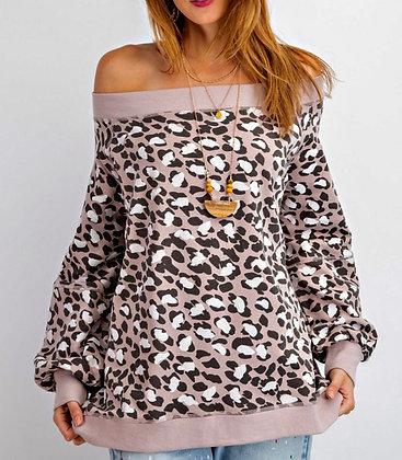 Pink Leopard Off Shoulder Top
