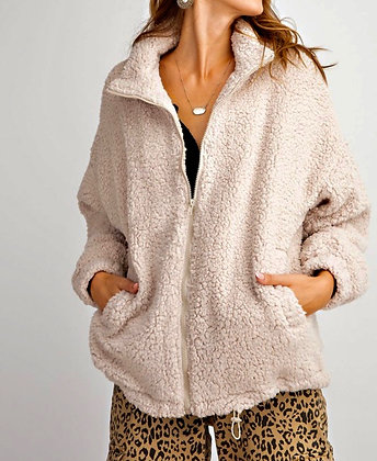 Sherpa Zip Jacket (avail in Cream and Coffee)