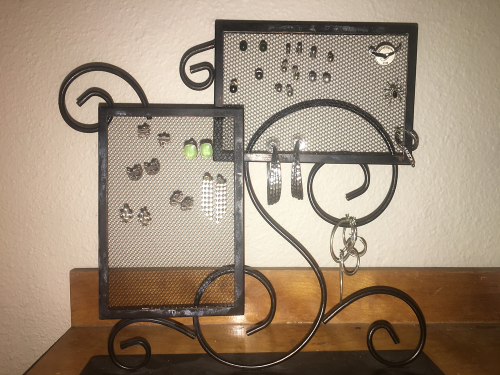 Jewelery Frame - Standing. For sale: image displays how it displays and organizes earrings and pins.