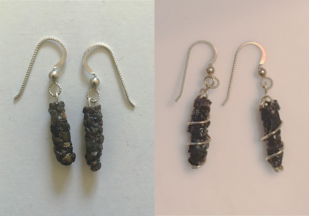 Caddisfly earings: left-natural stone and silver, right-onyx and gold.