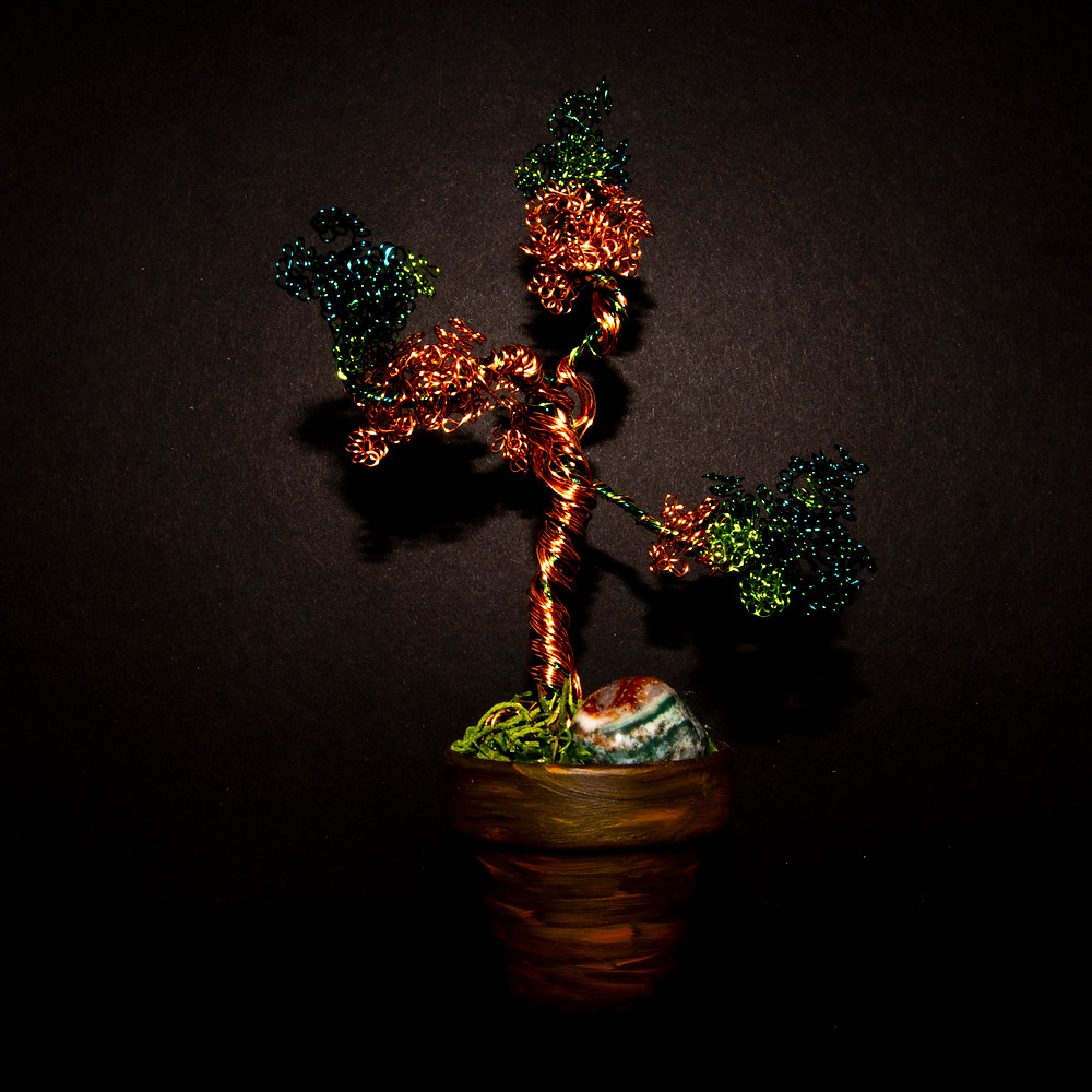Wire wrapped Bonsai tree, product can be found in Shop
