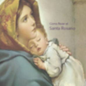 "Virgin May holding sleeping Baby Jesus with a title ""Como Rezar el Santa Rosario"""