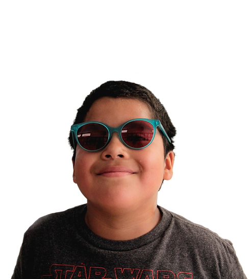 Smiling adolescent patient with sunglasses