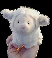 Hand holding a stuffed STL lamb mascot