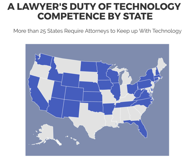 The 25 United States that require attorneys to keep up with technology