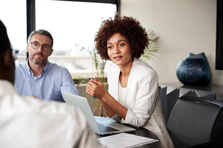 millennial-black-businesswoman-listening