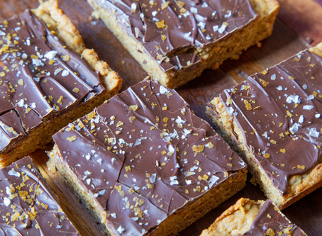 Peanut Butter Blondies with Salted Chocolate