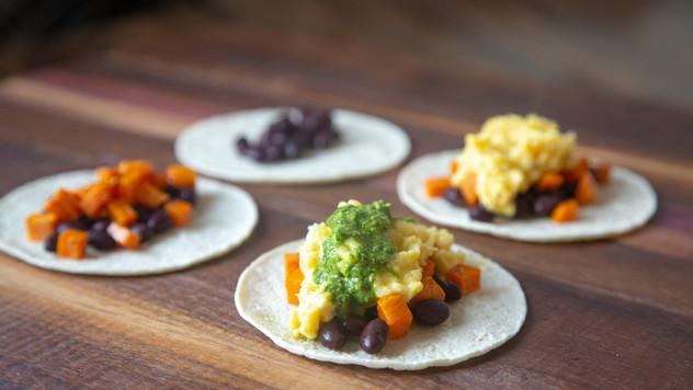 Breakfast Tacos with Cilantro Mint Salsa