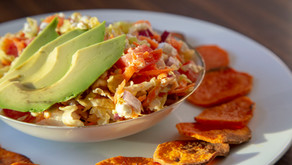 Cabbage Salad and Sweet Potato Crisps