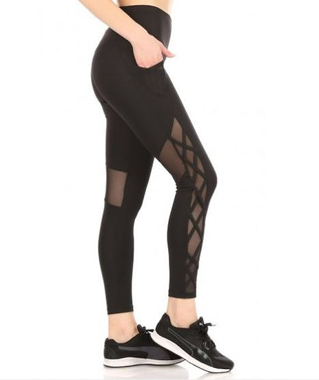 High Waist Sports Leggings With Side Mesh Pockets & Criss Cross