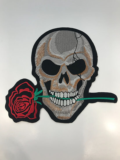 Skull with Rose Large Patch