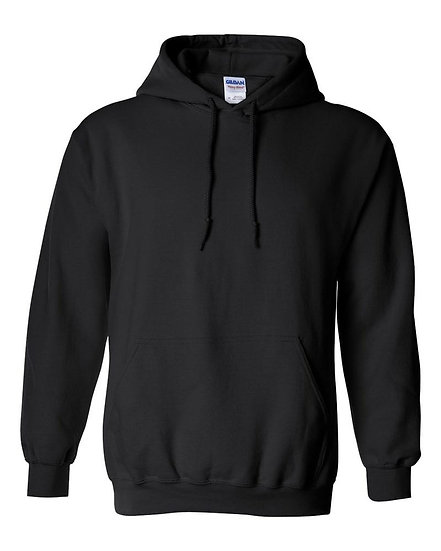 Gildan Plain Black Pull Over Fleece Hoodie