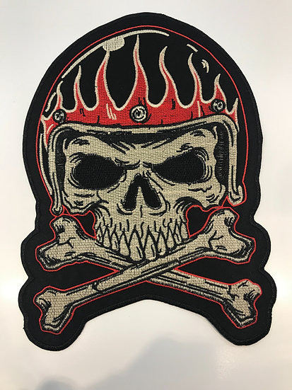 Skull Helmet Bones Large Patch