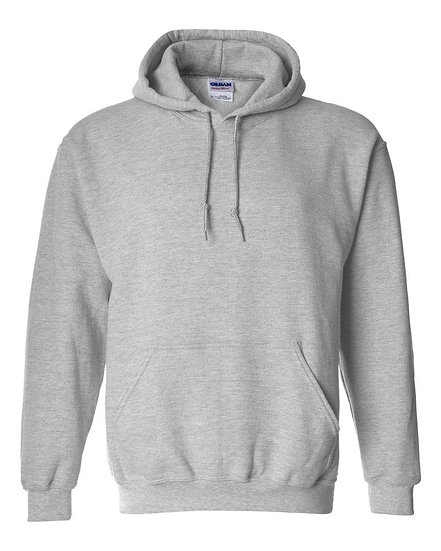 Gildan Plain Light Grey Fleece Pull Over Hoodie