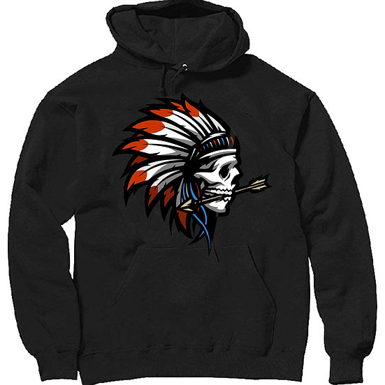 Skull Red Feather Hoodie