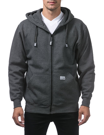 Proclub Heavyweight Full Zip Fleece Hoodie Dark Grey