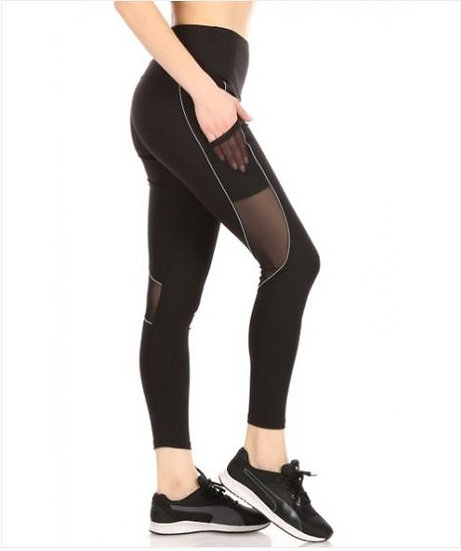 Sports Leggings With Contrast Binding Side Pockets & Mesh Panels