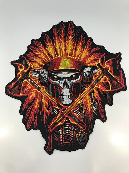 Skull Flaming Axe Large Patch