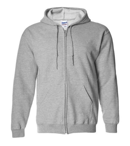Gildan Plain Light Grey Zipper Fleece Hoodie
