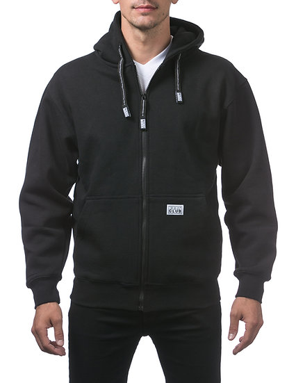 Proclub Heavyweight Full Zip Fleece Hoodie Black