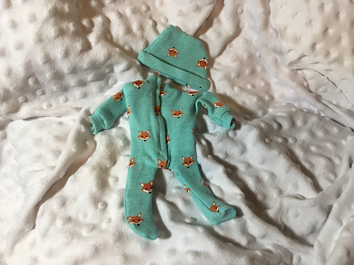 "Reborn Doll Clothing, Silicone Doll Outfit , 10"" Doll Sleeper and Hat,Fox"