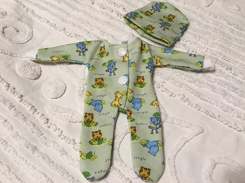 "Reborn doll sleeper fits 8"" dolls, Green Zoo Animals"