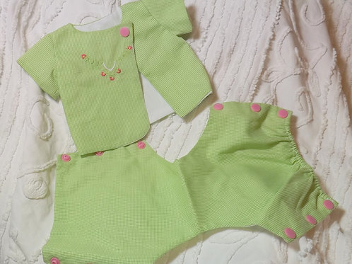 Preemie Diaper Shirt Set Green Gingham Check