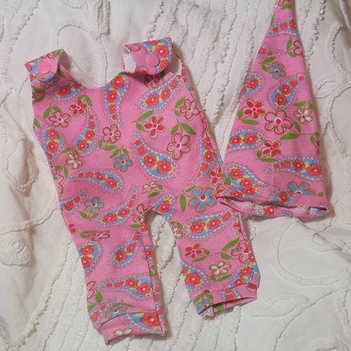 Preemie Romper  and Hat  Pink Paisley