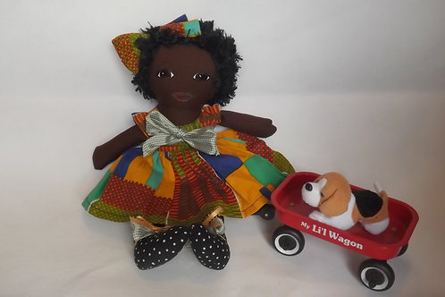 Cloth doll dressed in Kente Dress with Afro