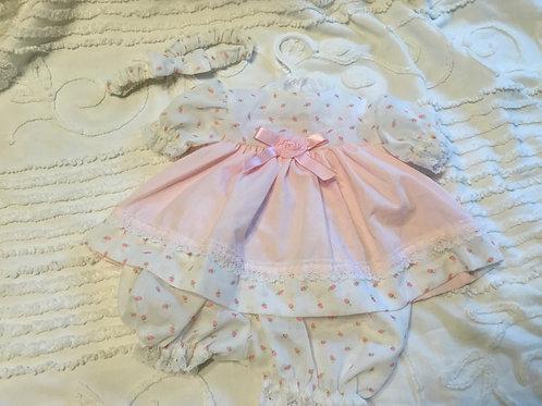 Preemie Reborn Pink Rosebud Dress,Diaper Cover & Bow