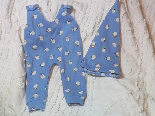 Preemie Romper  and Hat  Blue Snowman