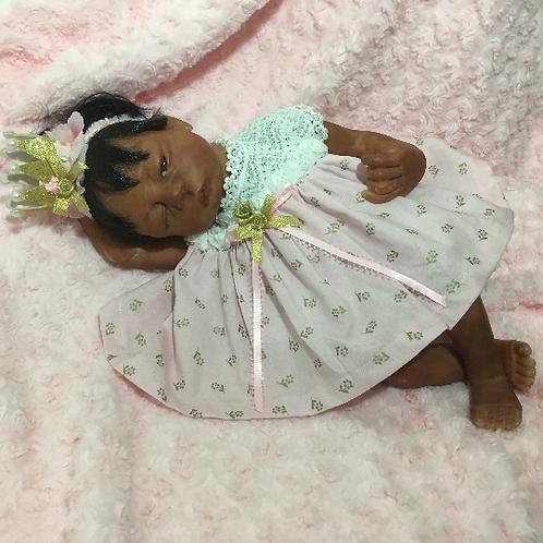 Preemie Reborn Dress, Pink with Knit Bodice