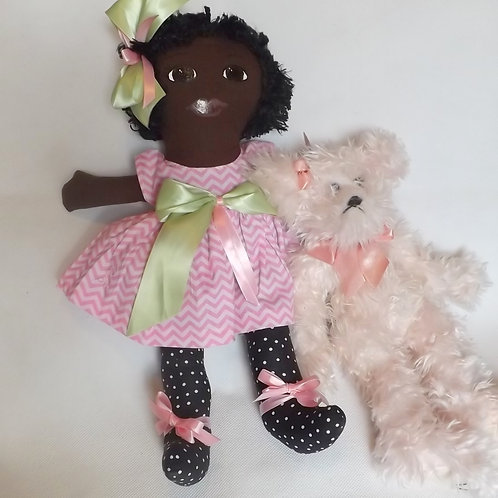 Cloth doll dressed in Pink and Green Dress with Afro