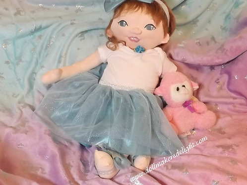 """Handmade Cloth Doll, Newborn Baby Doll, Embroidered Face, 20"""" Baby"""