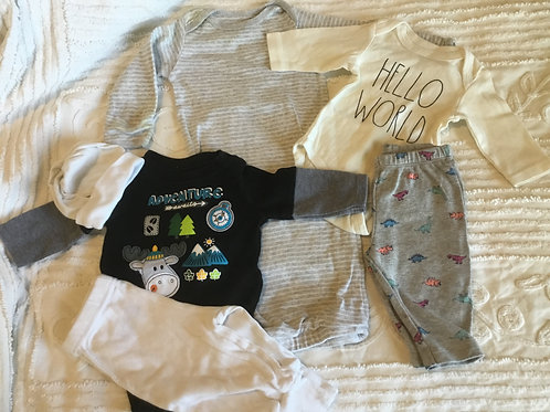 Boys 3 Month Gown, 2 Onesies, 2 Pants and Cap