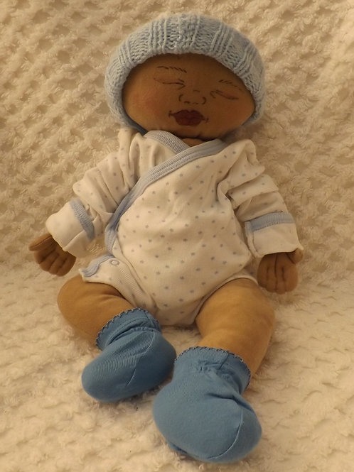 OOAK Soft Sculpture Bi-Racial Ethnic Newborn Baby