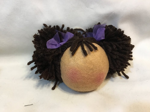 African American Afro Puff Hair Keychain,Purse Charm