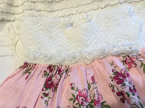 Preemie Reborn Dress, Pink Floral with Knit Bodice