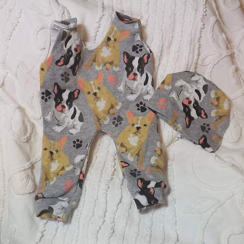 Preemie Romper & Beanie Gray French Bulldogs