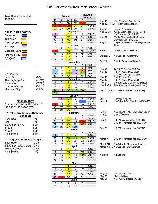 DISTRICT CALENDAR | Waverly-Shell Rock Schools | Home