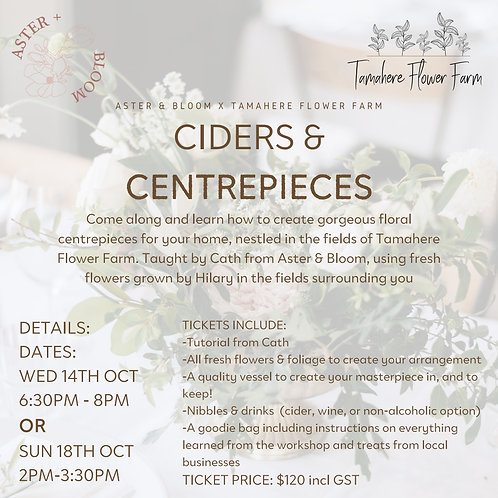 Ciders & Centrepieces Workshop- Wed 14th October