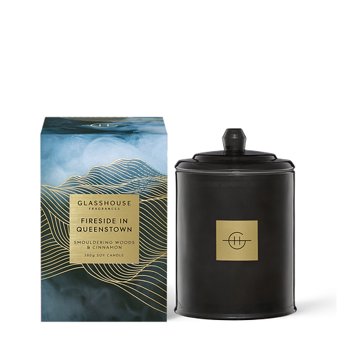 Fireside in Queenstown - Smouldering Woods & Cinnamon 380g Soy Candle