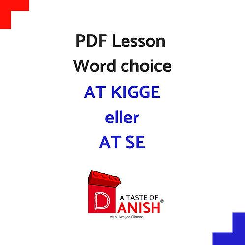 Word Choice - At kigge OR At se