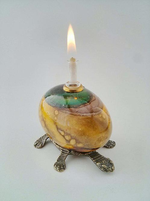 Turtle CocoLampe on a puter base, CocoLampe sur socle en étain
